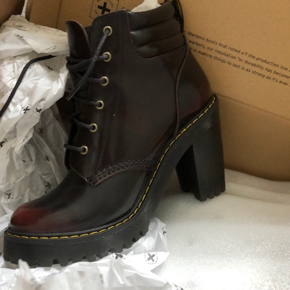 Dr. Martens cherry red heeled booties